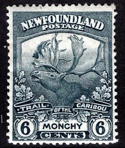 112, NSSC, Newfoundland, 6c grey, MLHOG, F, Monchy, Trail of the Caribou, Posta