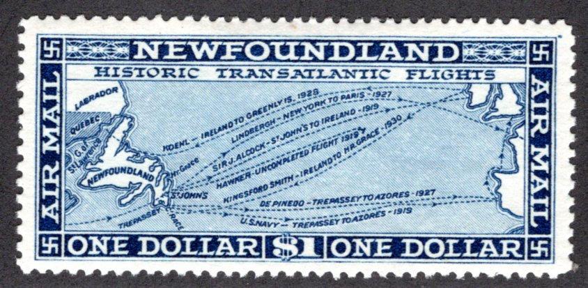 AM9, Newfoundland, $1, Air Mail, VF/XF, MLHOG, Historic Transatlantic Flights