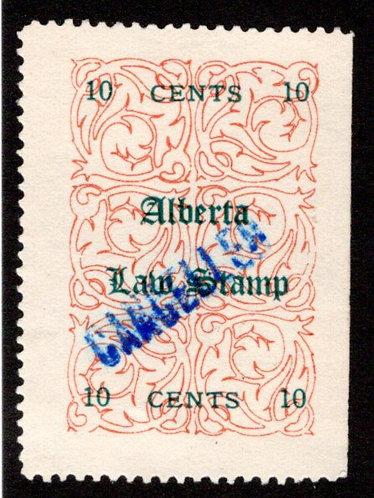 van Dam AL3 -10c red (green), used,VF/XF, Alberta Law