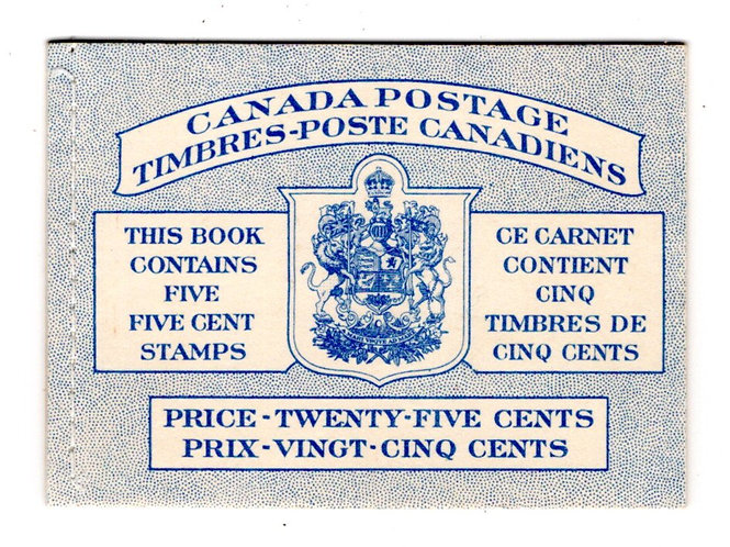 BK48b, Scott, booklet of 5c blue, 1 pane of 5 plus label, stitched, MNHOG, VF