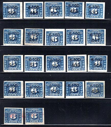 (22) FX100, van Dam, 6c, Imperforate Excise Revenue with tobacco date codes