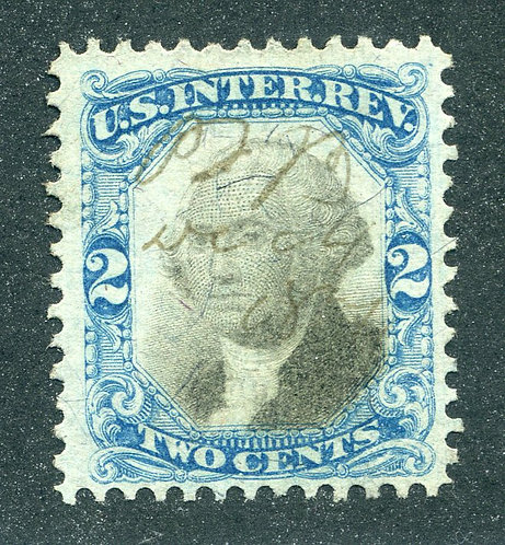 R104 - 2c - Blue and Black - US Second Issue Revenue
