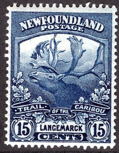 116, NSSC, Newfoundland, 15c dark blue, MLHOG, VF, Langemarck, Trail of the Cari