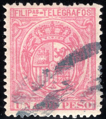 Philippines / Filipinas, H55, 1c rose, 1892, used, Telegraph Revenue Stamp