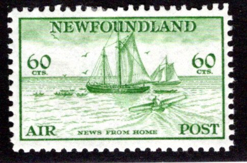 AM17, 60¢ News from Home, green, perf. 11.5, MHOG, F, Newfoundland Air Mail