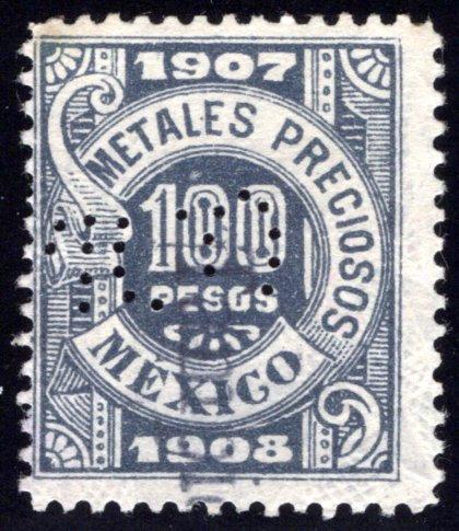 MP 52, Mexico, 100P, 1907-1908, Precious Metals / Metales Preciosos