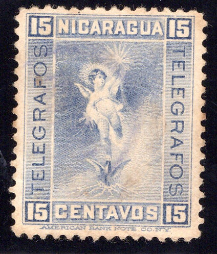 RH78,H78, Type 18, 15c grey-blue (shades), Used - Nicaragua Telegraph Revenue