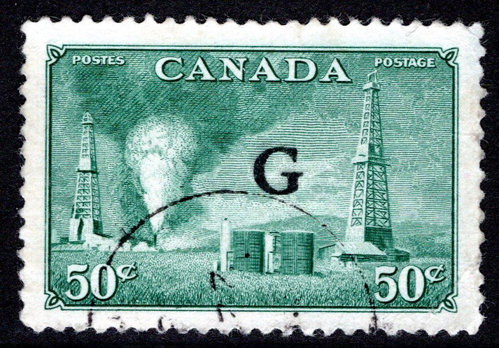 O24 - Used - 50c Oil Wells,  VF, 1950-51, Peace / Natural Resources