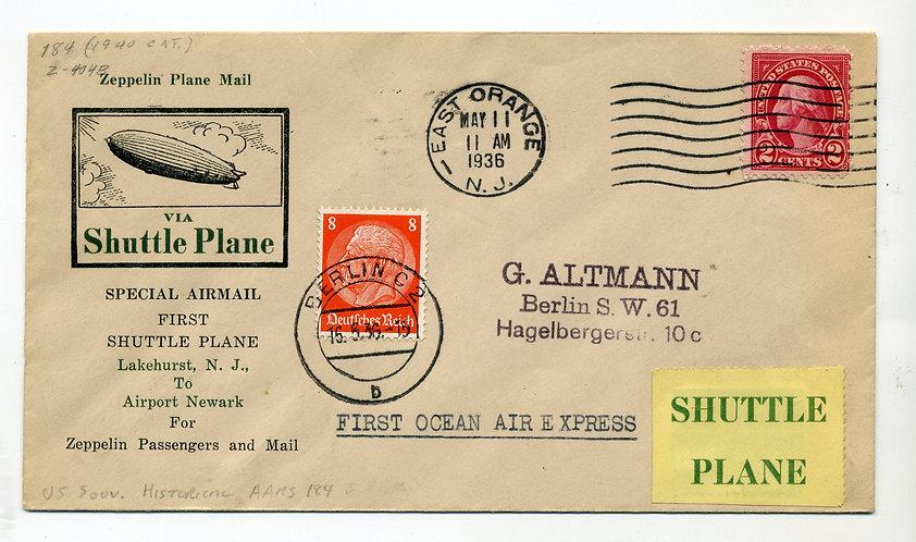First Ocean air Express Zeppelin Flight Cover / Cachet 5/11/1936 via Shuttle