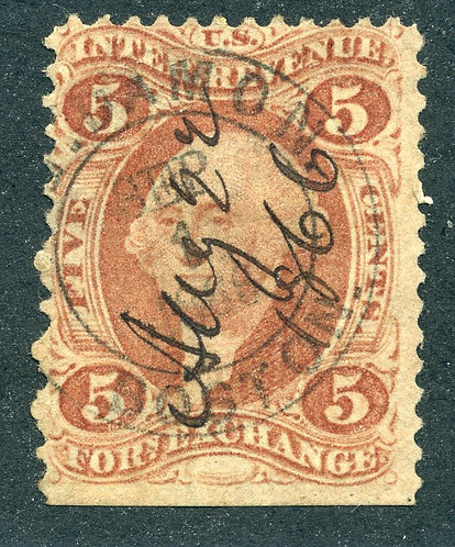Scott R26c,5c Foreign Exchange, red, perf, handstamp and ms cancel