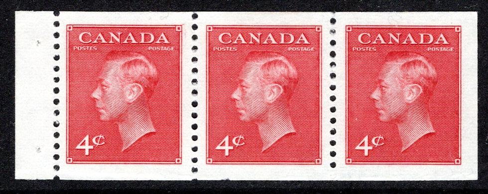 "287a, Scott, booklet pane of 3x 4c (BK43), MNHOG, VF, KGVI with ""postes/postage"