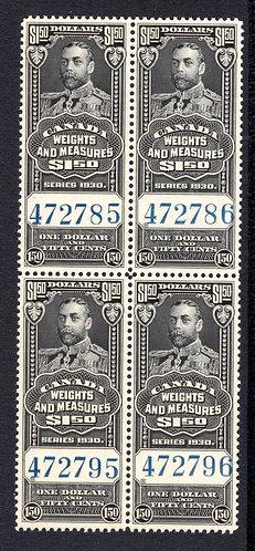 van Dam FWM68 - $1.50 Black - MNHOG- 1930 George V - Canada Weights and Measure