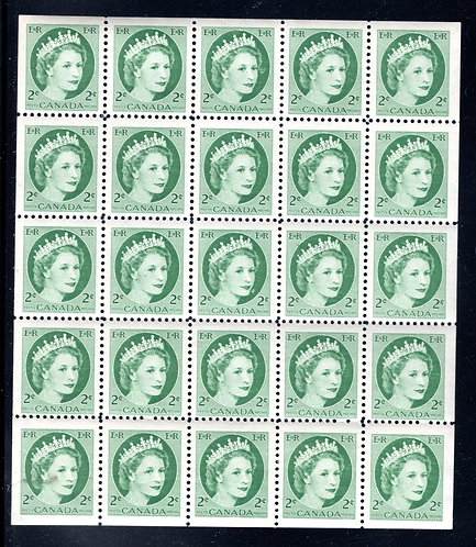 338a Scott, 2c green, VF, QEII Wilding Issue, Miniature Pane of 25 (5x5), MNHOG