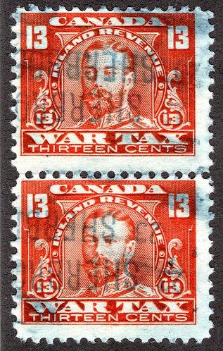 van Dam FWT14 vertical pair,F, 13c vermillion War Tax