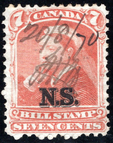 van Dam NSB8 - Nova Scotia Bill Stamp - 7c - Used, barely discernable document f