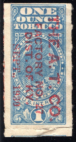 """One Ounce Tobacco, 1909 Series, overprint """"The A.T. CO. / FACTORY NO. 27 / SEPT."""