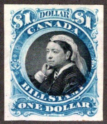FB52b van Dam, $1, imperf single, F/VF, blue & black centre,Third Bill Issue Re