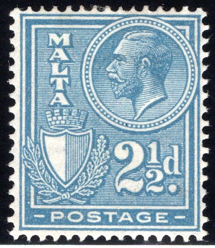 136 Malta, King George, 2½p, blue, MLHOG, F/VF