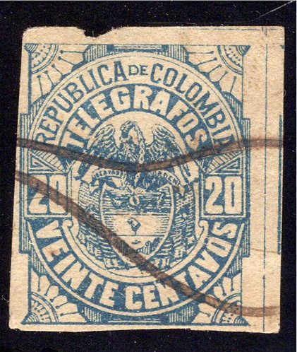 1901, Colombia Telegraph, RH34, CE45a,Type 23, 20centavos, used