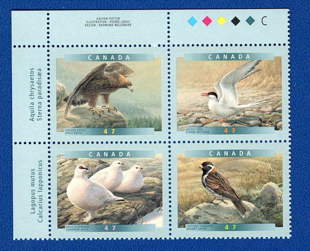 1889a, Canada, Block of 4 se-tenant, Birds of Canada, 6a, MNH