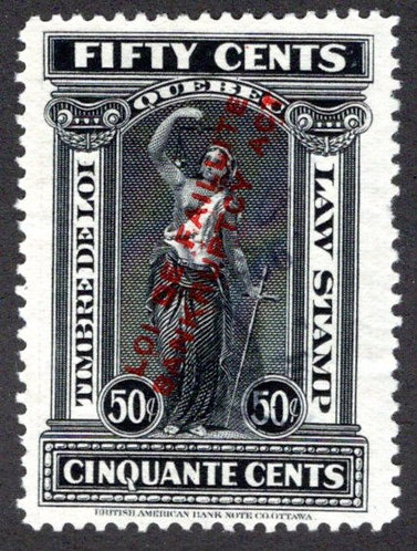 """QL103, van Dam """"1923 """"LOI DE FAILLITE - BANKRUPTCY ACT"""", 50c, F, Used- Quebec L"""