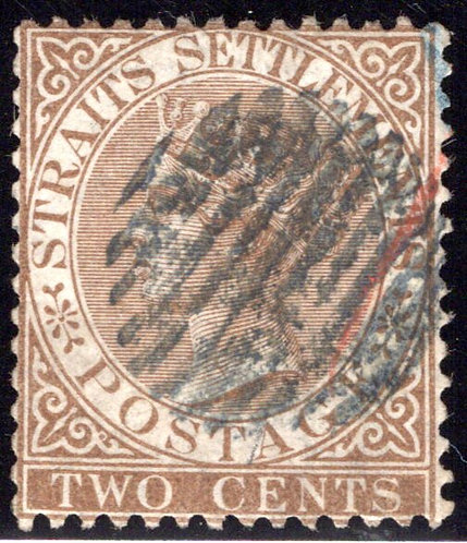 10 Straits Settlements, 2c, Wmk 1, p. 14, bistre brown