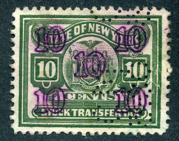 NY ST83 - Stock Transfer - $10 - used - perfin
