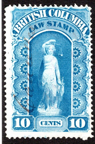 van Dam BCL1, 10c, British Columbia Law Revenue Stamp, used, F,