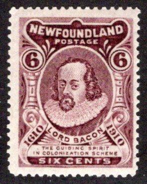 90, NSSC, Newfoundland, 6c, brown violet, Lord Bacon, p14.2, MLHOG, F/VF, Scott