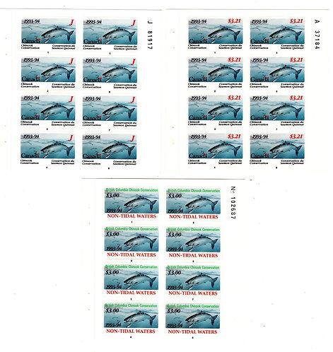 BCF5p van Dam, Canada, 1993-1994, Complete Set of 3 Panes of 8
