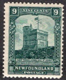 144, NSSC, Newfoundland, 9c, F, MLHOG, Pictorial Issue, Cabot Tower