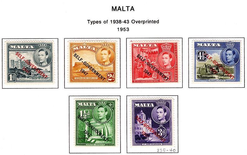 235-240 Malta, MLHOG Set, Type 0f 1938-1943 overprinted, 1953