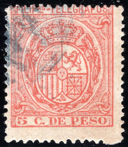 Philippines / Filipinas, H68, 5c orange-red, 1894-5, used, Telegraph Revenue Sta
