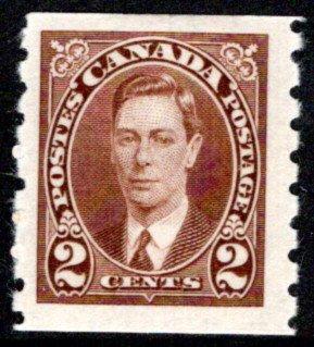 239, Scott, Canada, 2c, KGVI Coil, MLHOG, F, Postage Stamp