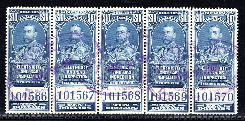 van Dam FEG11, $10 blue, Electricity & Gas Inspection, strip of 5, 1930, George