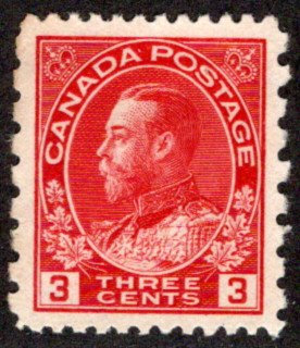 "184, Scott, 3c carmine, p. 12 x 8, KGV ""Admiral"" Provisional, Used, VF/XF, Canad"