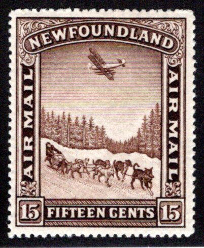 AM10, NSSC, Newfoundland, 15c, Air Mail, VF/XF, MHOG, Dog Sled and Airplane