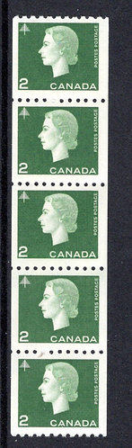 406i, Scott, 2c, MNHOG, VF, Jump Strip of 5, Cameo Issue Coil Stamps, Canada Pos