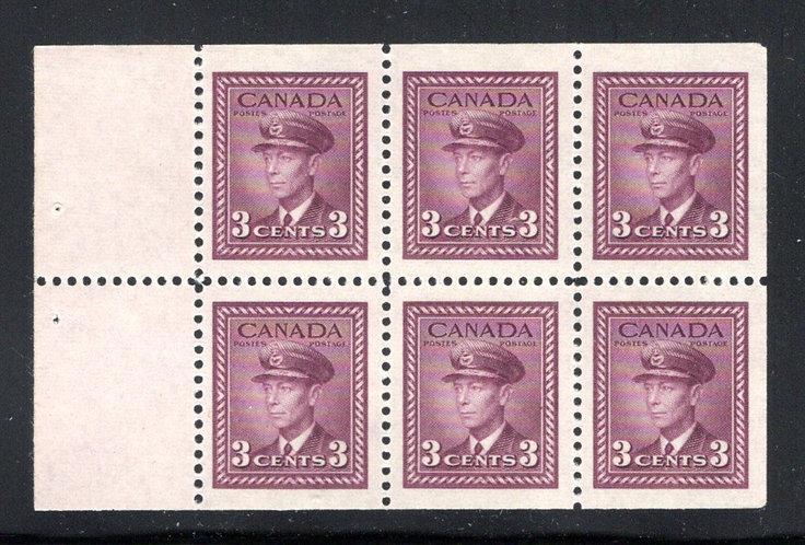 "252c, Scott, 3c , VF, MNH,""War"" issue, booklet pane of 6x 3c (Bk 39), Canada P"
