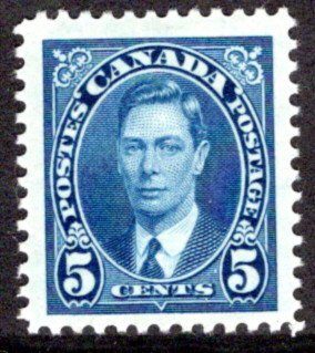 235, Scott, Canada, 5c, KGVI Mufti Issue, MLHOG. F/VF, Postage Stamp