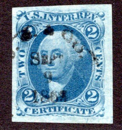 R7a - 2c - Certificate Revenue- Blue - imperf - used - Black h/s, Sep 9 1868 ca