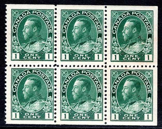 "104a, Scott, booklet pane of 6 x 1c dark green, 17.5 x 21.5,  ""Admirals"", F/VF"