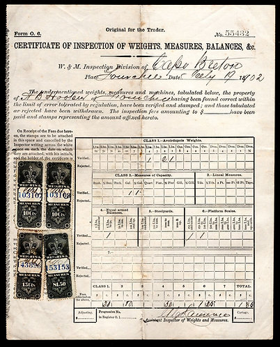 1902 Federal Canada Weights and Measures document with 1885 Crown Stamps