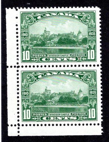 215 Scott,10c green, VF, MNHOG, Windsor Castle, Vertical Pair, KGVI, Canada