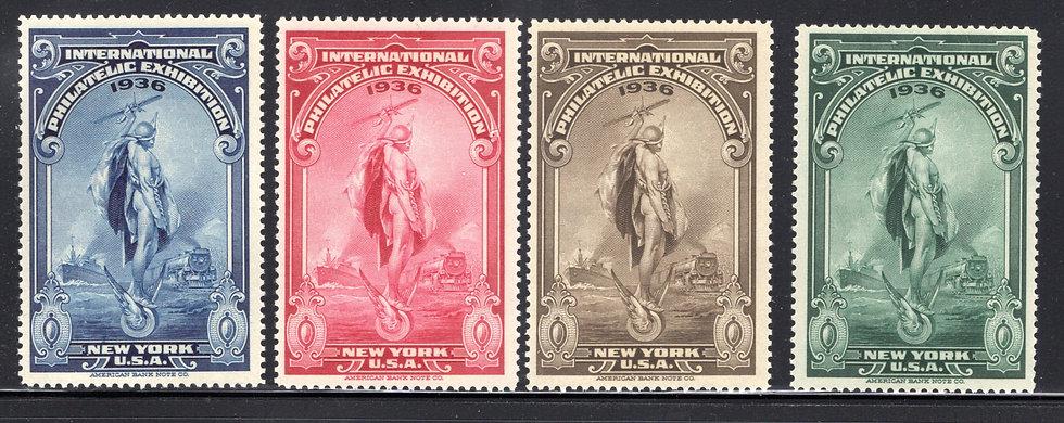 USA 1936 InternationalPhilatelicExhibition of 4, New York Poster Stamps, VF, M