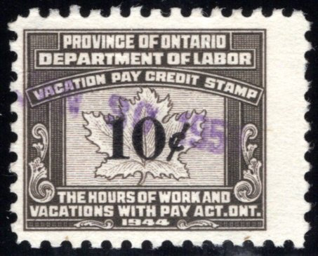 van Dam OV6- 10¢ Ontario Vacation Pay - used, single from a wide gutter pair