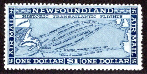 AM12, NSSC, Newfoundland, 1931, $1, Air Mail, F/VF, MLHOG, Scott C11