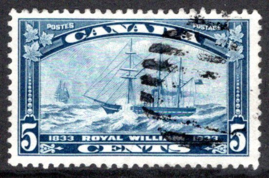 204, 5c Royal William, Used F/VF, 1933, Canada Postage Stamp