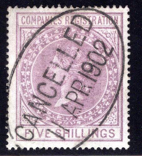 Britain, Victoria, Companies Registration, 5/-, Five Shillings, Used, Hinge