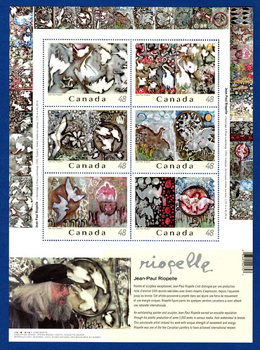 2002, Canada, $2.88 pane of 6 different, Jean-Paul Riopelle, MNH